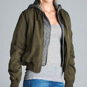 Jackets & Blazers - Bomber Jacket w/ Hoodie